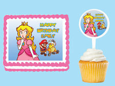Princess Peach Edible Birthday Party  Cake Cupcake Toppers Plastic Pick Sticker