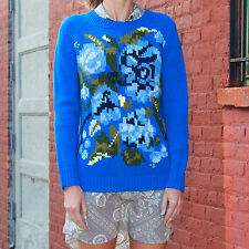 NWT JOIE Cute Blue Floral Pattern Wool Blend Knit Pull Over Sweater Size XS $328