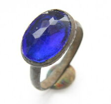 Ancient Medieval Bronze Finger Ring With Blue Inlay (MAR01)
