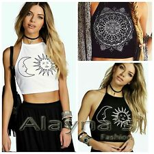 NEW WOMEN LADIES SUN & MOON PRINT HALTER NECK TIE CROP TOP T SHIRT UK SIZES
