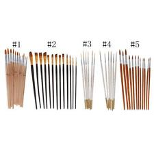 Flat Tip Round Painting Brushes Artist Nylon Hair Watercolor Oil Drawing Pen