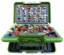 L GREEN Fly Box set mixed Trout Fly Fishing Flies Dry Wet Nymph Buzzers