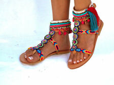 Friendships Boho Sandals, Pom pom summer shoes, Handmade Sandals, Greek Sandals,