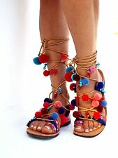 Goa LEATHER Sandals, Pom Pom sandals, no 2-14 Colorful Sandals, boho Sandals