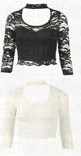 WOMENS LADIES LINED FLORAL LACE 3/4 SLEEVE CHOKER NECK SCALLOPED HEM CROP TOP
