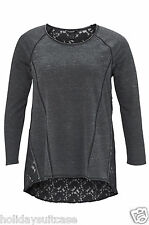 Plus size 14-32 UK Ladies womans inside out soft touch lace dipped hem top tunic