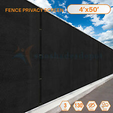 Black 4'x50' Fence Windscreen Privacy Screen Shade Cover Fabric Mesh Garden Yard