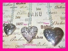 """Photo Locket Silver Plated 18"""" Charm Oval Heart Square Shaped Necklace USA MADE"""