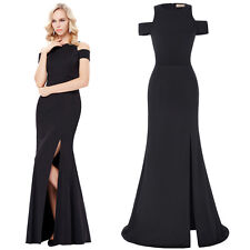 2017 Formal Long Black Dress Prom Evening Party Cocktail Bridesmaid Wedding Gown