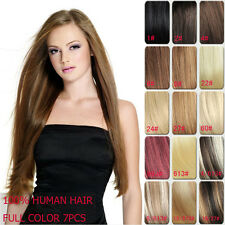 15'' 18'' Clip In Human Hair Extension Full Head Remy Hair Extensions 9 Colors