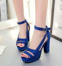 Women Pumps Open toe Platform Block High-heels Ankle strap shoes