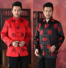 Chinese men's silk party jacket/coat Cheongsam Red Black SZ: M L XL XXL XXXL
