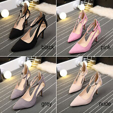 Women Pointed Toe Suede Buckle Strap Stiletto High Heels wedding Party Shoes New