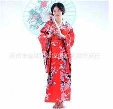 Black blue red traditional Chinese Silk Women's Kimono Robe Gown with obi