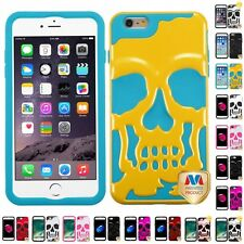 For iPhone 7/6S/6 Plus Hybrid Skull Skeleton Impact Hard Soft Case Cover