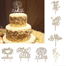 Wood Wedding Cake Topper Rustic Monogram Mr Mrs Love Heart Cake Topper