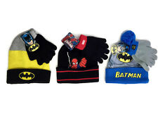 Boys Batman or Spiderman Knit Hat and Glove Set Winter Beanie NWT Choose Style