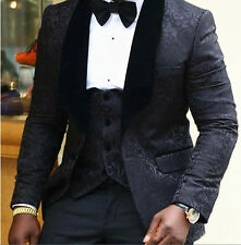 Black Floral Mens Suits Wedding Groom Tuxedo Slim Fit Groomsman Prom Party Suits