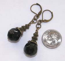 BLACK ONYX 12mm Faceted LEVER BACK EARRINGS Bronze Tone