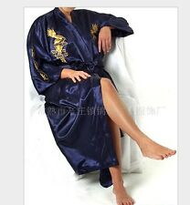 Chinese men's silk/satin dragon bathrobe gown/robe Navy blue Sz: M L XL XXL XXXL
