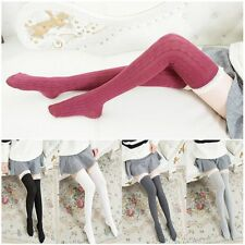 Cotton Long Tigh High Women Stockings Knit Lace Socks Over Knee