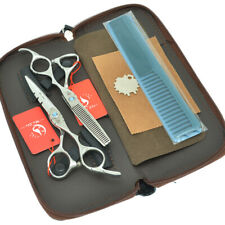 5.5 6.0 inch Silver Hair Scissors Set Professional Shears Hairdressing Tools