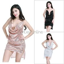 Sexy Women Deep V Neck Halter Sequin Dress Party Evening Club Backless Dress