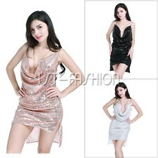 Women Deep V-Neck Backless Sequins Blingbling Party Club Night Mini Halter Dress