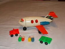 Vintage 1970 Fisher Price Little People Play Family Fun Jet #183 2 Cars 4 PPL~!~