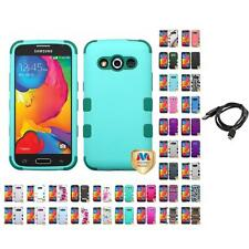 For Samsung Avant G386 Hybrid TUFF IMPACT Phone Case Hard Rugged Cover + Cable