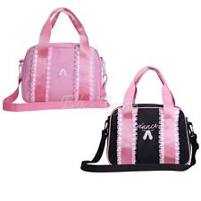 Girls Dance Duffle Bag Kids Quilted Ribbon Light Pink Black Totes Shoulder Bag