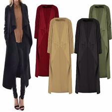 WOMENS LADIES LONG SLEEVES OPEN FRONT CREPE WATERFALL DUSTER CARDIGAN PLUS SIZE