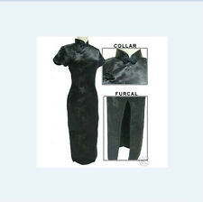 Black Chinese Women's silk/satin long dress CheongSam SZ: 6 8 10 12 14 16