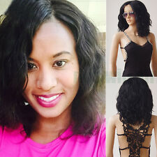 US Post Afro Curly Lace Front Wig Synthetic Hair Heat Resistant Wigs Black Long#