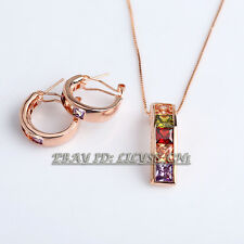A1-S104 Fashion Rose Gold Plated Earrings Necklace Jewelry Set 18KGP Crystal