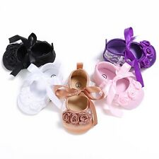 Newborn Toddler Baby Girl Ribbon Flower Princess Shoes Lace Bow Pram Soft Soles