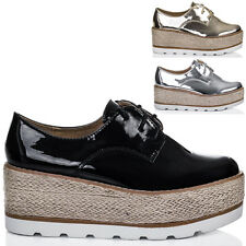 Womens Lace Up Platform Wedge Heel Espadrille Loafer Shoes Sz 3-8