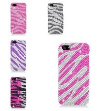 For Apple iPhone 5 5S Zebra Rhinestone Diamond Bling Hard Snap-in Case Cover