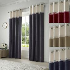Lined Eyelet Curtains Seattle Ready Made Ring Top Pairs Grey Blue Red Beige