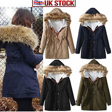 Ladies Women's Winter Warm Casual Parka Fur Jacket Hooded Coat Top outerwear New