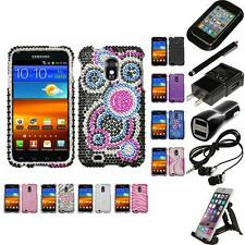 For Samsung Epic Touch 4G D710 Diamond Diamante Bling Rhinestone Case Bundle