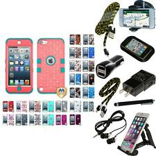 For iPod Touch 5th 6th Generation Hybrid TUFF IMPACT ARMOR Cover Case + Bundle