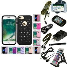 For Apple iPhone 7 [4.7] Rhinestone Rugged Armor Bling Case Phone Cover + Bundle