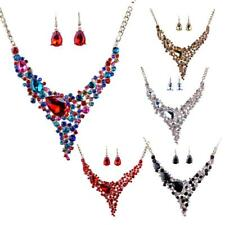 Wedding Bridal Big Crystal Statement Chunky Necklace Earrings Party Jewelry Set