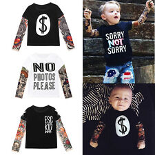 Spring Kids Boys Tattoo T Shirt Fashion Letter Long Sleeve Casual Tops Clothing