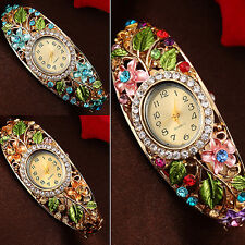 Women's Lady Crystal Colored Flower Bangle Bracelet Watch Analog Quartz Seraphic