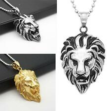 """Men's Stainless Steel Fashion Lion Head Pendant Necklace Ball Bead Chain 20"""""""