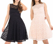 Womens Ladies Sleeveless Mesh Insert Lace Short Mini Evening Party Skater Dress