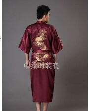 Chinese men's silk/satin dragon embroidery bathrobe gown/robe Sz:M L XL XXL XXXL