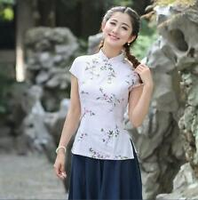 Chinese women's traditional linen tops /T-shirts blouse Beige Sz: 8 10 12 14 16